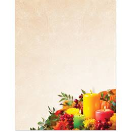 Candle Lit Fall Border Paper