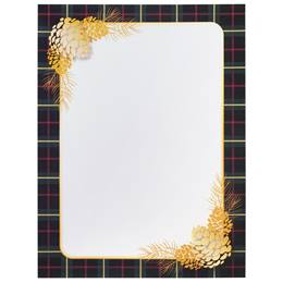 Plaid and Pinecones Border Paper