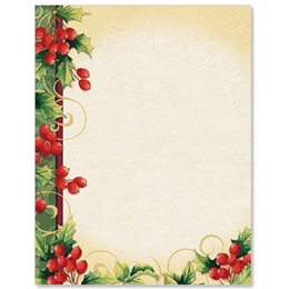 Holly Berry Swirls Border Papers