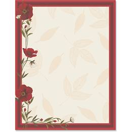 Red Poppies Border Papers