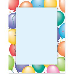 Party Balloons Border Papers