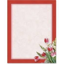 Red Tulips Border Papers