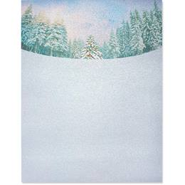Frosted Trees Border Paper - Pearl Shimmer