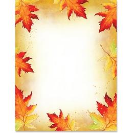 Watercolor Leaves Border Paper