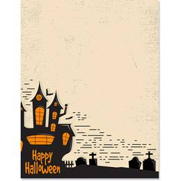 Happy Halloween Castle Border Paper
