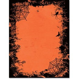 Orange and Black Webs Border Paper