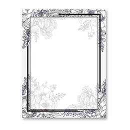 Black & White Floral Border Papers