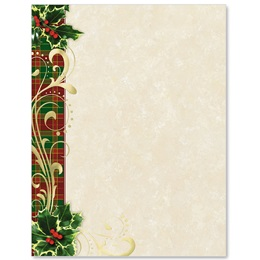 Plaid With Holly Specialty Border Papers