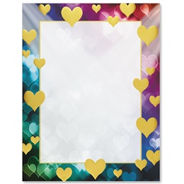 Rainbow Hearts Specialty Border Papers