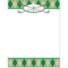 Golf Club Plaid Border Paper