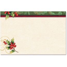 Holly Berry Swirls Crescent Envelopes
