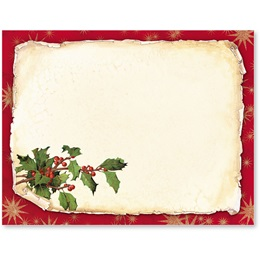 Old Fashioned Holly Christmas Postcards