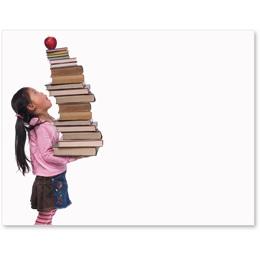 Girl Big Stack Books Postcards