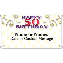 Milestone 50th Birthday Vinyl Banners