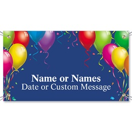 Balloons on Blue Vinyl Banners