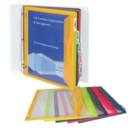 Binder Pockets with Write-On Index Tabs-Assorted Colors