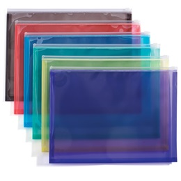 Assorted Color Zip-Closure Plastic Envelopes